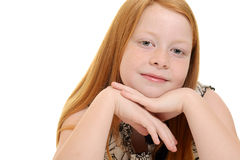 Cute little red hair girl portrait Royalty Free Stock Image