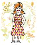 Cute little red-haired girl standing on background of autumn lan. Dscape and wearing stylish casual clothes. Vector human illustration Royalty Free Stock Photography