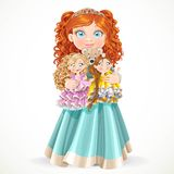 Cute little red-haired princess girl holding in arms dolls Stock Photos