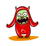 Cute Little Red Monster Illustration.  Stock Photos