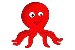 Cute Little Red Octopus Clip Art.