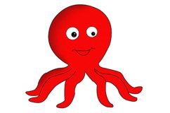Cute Little Red Octopus Clip Art. royalty free illustration