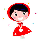 Cute little red riding hood isolated on white Stock Photography