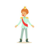Cute little redhead boy wearing in a light blue prince costume, fairytale costume for party or holiday vector Royalty Free Stock Photos