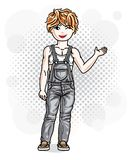 Cute little redhead girl in jeans wear. Vector illustration of h Royalty Free Stock Image