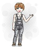 Cute little redhead girl in jeans wear. Vector illustration of h Stock Photos