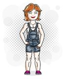 Cute little redhead girl in jeans wear. Vector illustration of h Stock Image