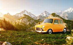 Cute little retro car on grass field at mountain in summer day. Unusual 3d illustration of mountain landscape with fog Royalty Free Stock Images