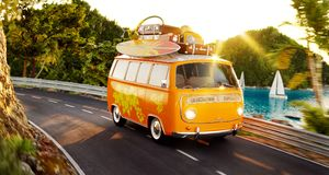 Cute little retro car with suitcases and surf on top goes by the road. Along beautiful harbor between mountains in summer day. Unusual 3d illustration. Travel Stock Photo