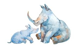 Cute little rhinoceros with his mom isolated on white background. royalty free illustration