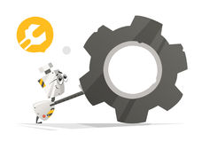 Cute little robot and big gear Royalty Free Stock Image