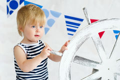 Cute little sailor posing Stock Photos