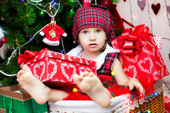 Cute little santa baby Stock Photos