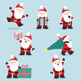 Cute little santa claus christmas set 3. This is a cute set of 7 Santa Claus posing, easy to edit. Two presents contain two simple cute patterns. All elements vector illustration