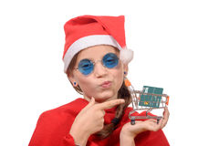 Cute little Santa Claus giving credit card and Stock Images