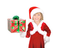 Cute little Santa with gift Stock Photography