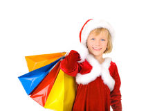Cute little Santa shopping Stock Images