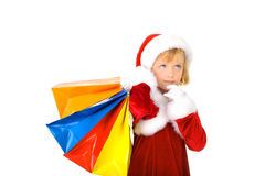 Cute little Santa shopping Royalty Free Stock Images