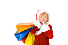 Cute little Santa shopping Stock Photography