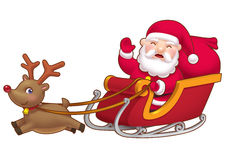 Cute little Santa sleight. A cute smiling little Santa Claus on a sleigh pulling by a cute rein deer Stock Image