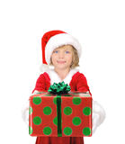 Cute little Santawith a gift Stock Photos