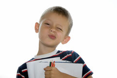 Cute little schoolboy Royalty Free Stock Images