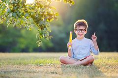 Cute little schoolboy feeling excited about going Royalty Free Stock Photos