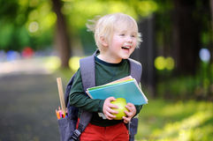 Cute little schoolboy with his backpack and apple. Back to school concept. Cute little schoolboy outdoors on sunny autumn day. Young student with his backpack Royalty Free Stock Photography
