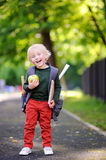 Cute little schoolboy outdoors on sunny autumn day. Back to school concept. Stock Photos