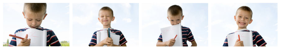 Cute little schoolboy Royalty Free Stock Photos