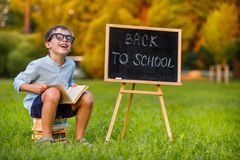 Cute little schoolboy reading book Royalty Free Stock Photos