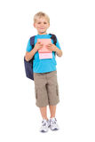 Cute little schoolboy smiling at camera Stock Images