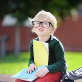 Cute little schoolboy studying outdoors on sunny day. Back to school concept. Cute little schoolboy studying outdoors on sunny day. Young student doing his Royalty Free Stock Images