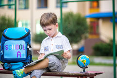 Cute little schoolboy studying outdoors on sunny day Stock Photo