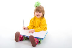 Cute Little Schoolgirl Sitting With A Books. Stock Images