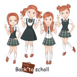 Cute little schoolgirls. Royalty Free Stock Image