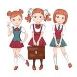 Cute little schoolgirls. Royalty Free Stock Image