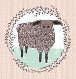Cute little sheep illustration for children. Royalty Free Stock Photo