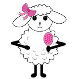 Cute little sheep illustration Royalty Free Stock Image