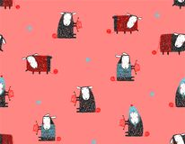 Sheep Knitting Craft Seamless Pattern Background Royalty Free Stock Photos