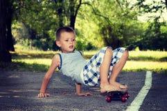 Cute little skater boy Royalty Free Stock Photos