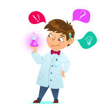 Cute little smart boy. The scientist. holding a test tube, holds chemical experiment. Cartoon character, mascot. Cute little smart boy. The boy scientist. Little royalty free illustration