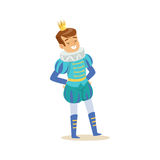 Cute little smiling boy wearing a blue prince costume, fairytale costume for party or holiday vector Illustration. Isolated on a white background Royalty Free Stock Photography