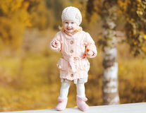 Cute little smiling child wearing a knitted clothes in autumn Stock Photos