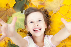 Cute little smiling girl in autumn leaves Stock Image
