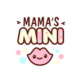 Cute little smiling lips and the mama s mini lettering illustration. illustration of isolated with phrase on white Stock Photography