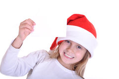 Cute little smiling Santa girl with a banner stock photo