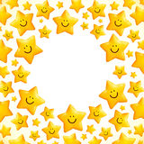 Cute little smiling stars vector frame Royalty Free Stock Image