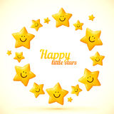 Cute little smiling stars vector frame Royalty Free Stock Photos