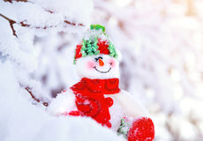 Cute little snowman toy Royalty Free Stock Photos